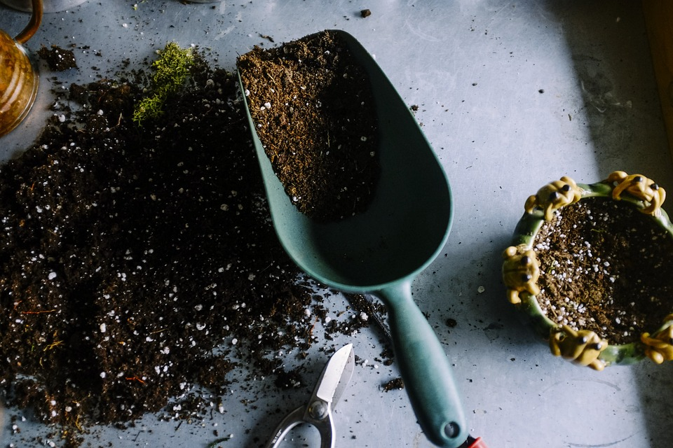 gardening soil pots trowel